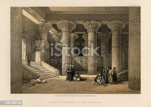 Vintage engraving of Interior of the Temple of Esna, Upper Egypt, 19th Century, by David Roberts. The temple of Esna, dedicated to the god Khnum, his consorts Menhit and Nebtu, their son, Heka, and the goddess Neith