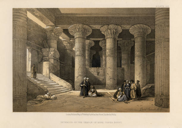 Interior of the Temple of Esna, Upper Egypt Vintage engraving of Interior of the Temple of Esna, Upper Egypt, 19th Century, by David Roberts. The temple of Esna, dedicated to the god Khnum, his consorts Menhit and Nebtu, their son, Heka, and the goddess Neith ancient egyptian culture stock illustrations
