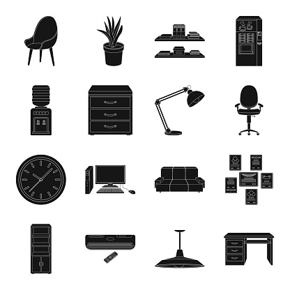 Interior of the workplace black icons in set collection for design. Office furniture vector symbol stock web illustration.