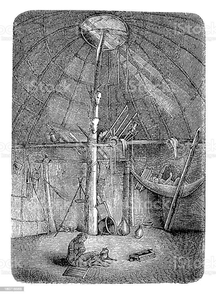 Interior of Wapishana hut, South America (antique wood engraving) royalty-free stock vector art