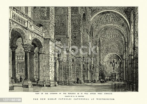 Vintage illustration of the Interior of Westminster Cathedral is the mother church of the Roman Catholic Church in England and Wales, 19th Century