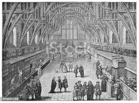 The Interior of Westminster Hall at the Palace of Westminster in London, England. Vintage halftone etchings circa mid 19th century.