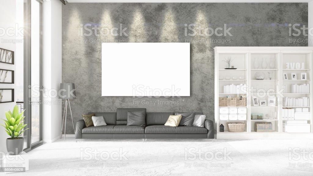 Interior Con Vista Panorámica Otomano De Cuero Negro Y Marco Vacío ...