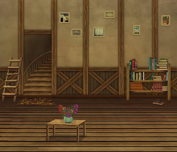 interior with wooden floors and an old wall - old man sleeping drawing stock illustrations, clip art, cartoons, & icons