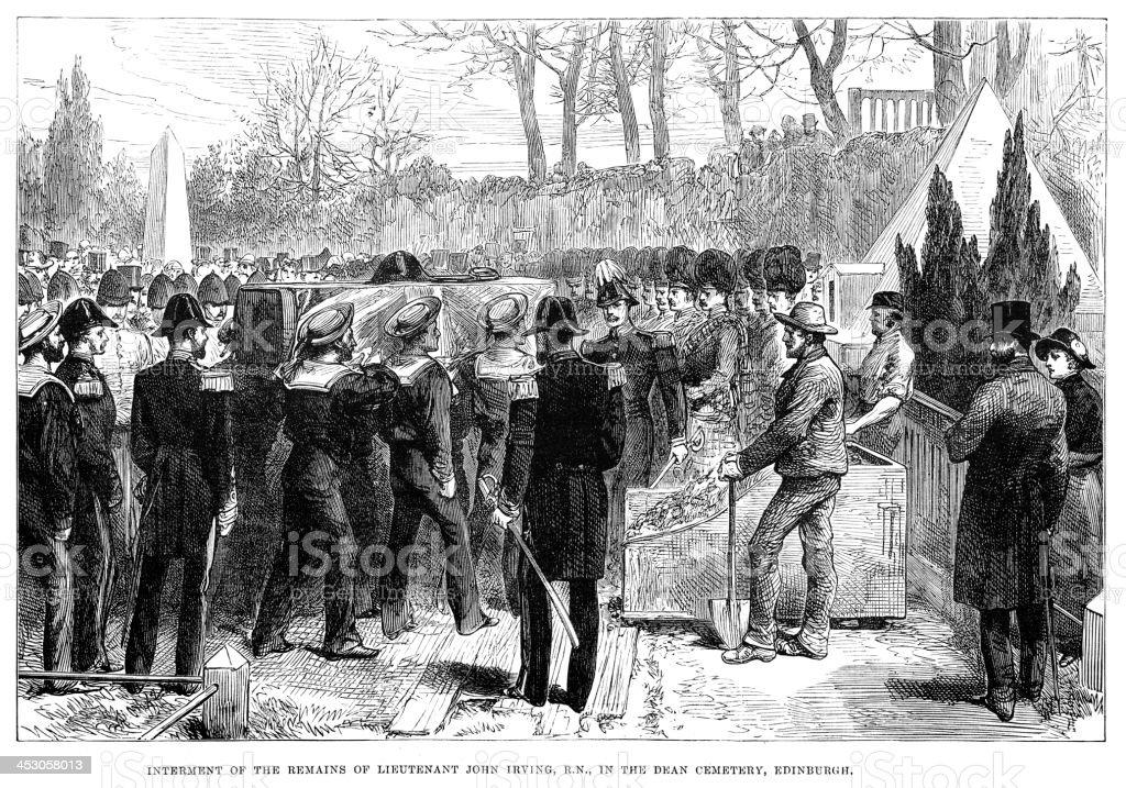 Interment of Lieutenant John Irving royalty-free stock vector art