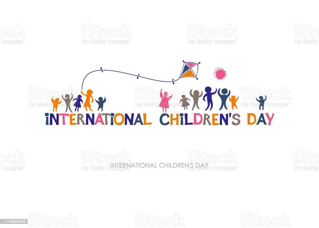 Internationale dag van het kind. Heldere veelkleurige platte ontwerp van horizontale banner. - Royalty-free Baby Stockillustraties