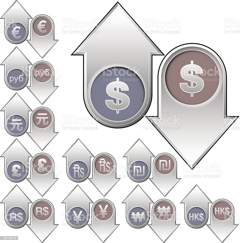 International currency value buttons royalty-free stock vector art