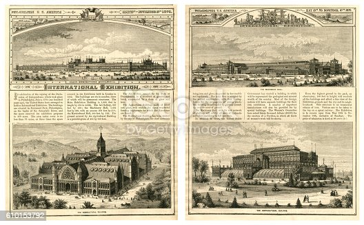 """Four magazine plates showing some of the exhibition halls at the International Exhibition held in Philadelphia between 10th May and 10th November, 1876. From """"The Cottager and Artisan"""" illustrated by various artists and published by The Religious Tract Society, London, in 1876."""