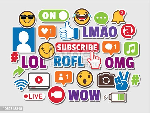 Internet Acronyms (LOL, ROFL, OMG, WOW, LMAO) Social Media Networking Smart Phones Emoticons Online Chat Slang Icons Stickers Vector Illustration