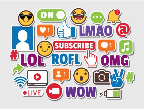 internet acronyms social media emoticons online chat slang icons - emoji stock illustrations, clip art, cartoons, & icons