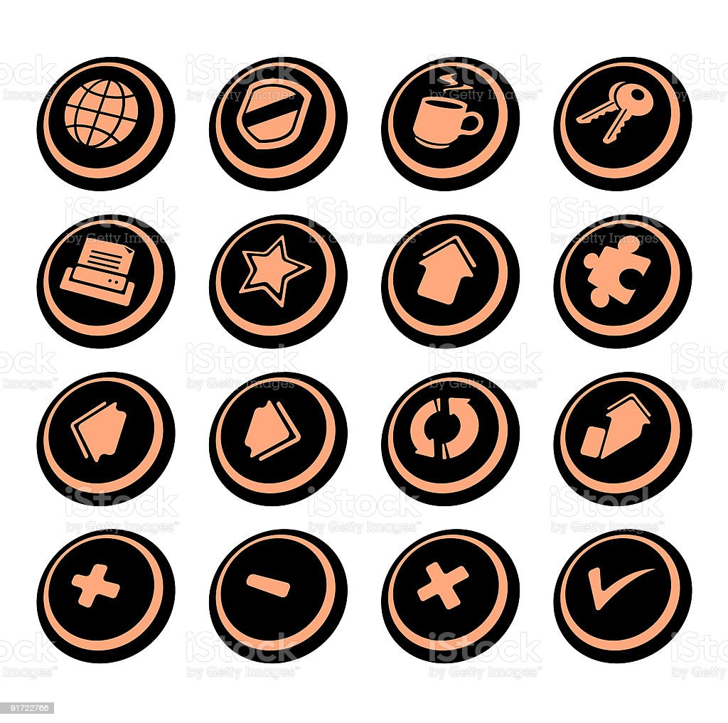 Internet browser icons   Black ellipse series royalty-free stock vector art