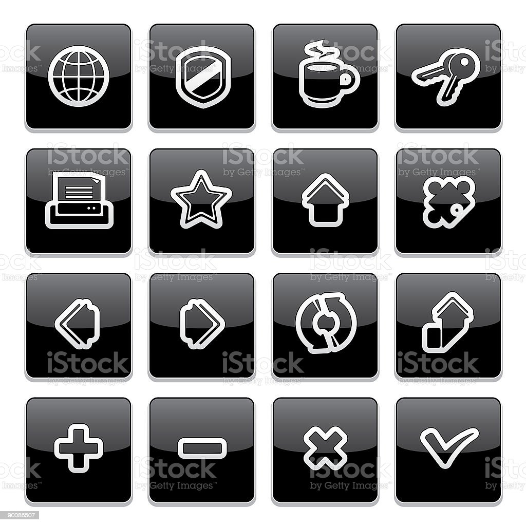 Internet browser icons | Strict thick series royalty-free stock vector art