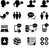 internet chat and online communications black & white icon set