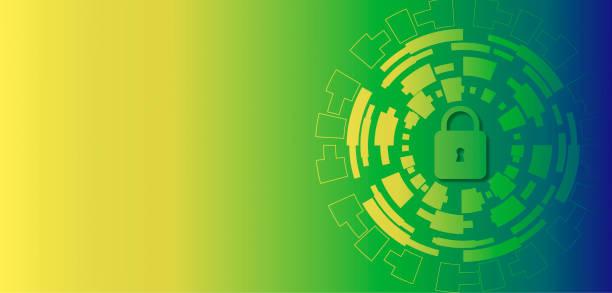 互聯網數位安全技術理念為業務背景。鎖在電路板上向量藝術插圖