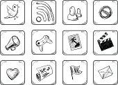 Internet icons set. Hand Drawn illustration.