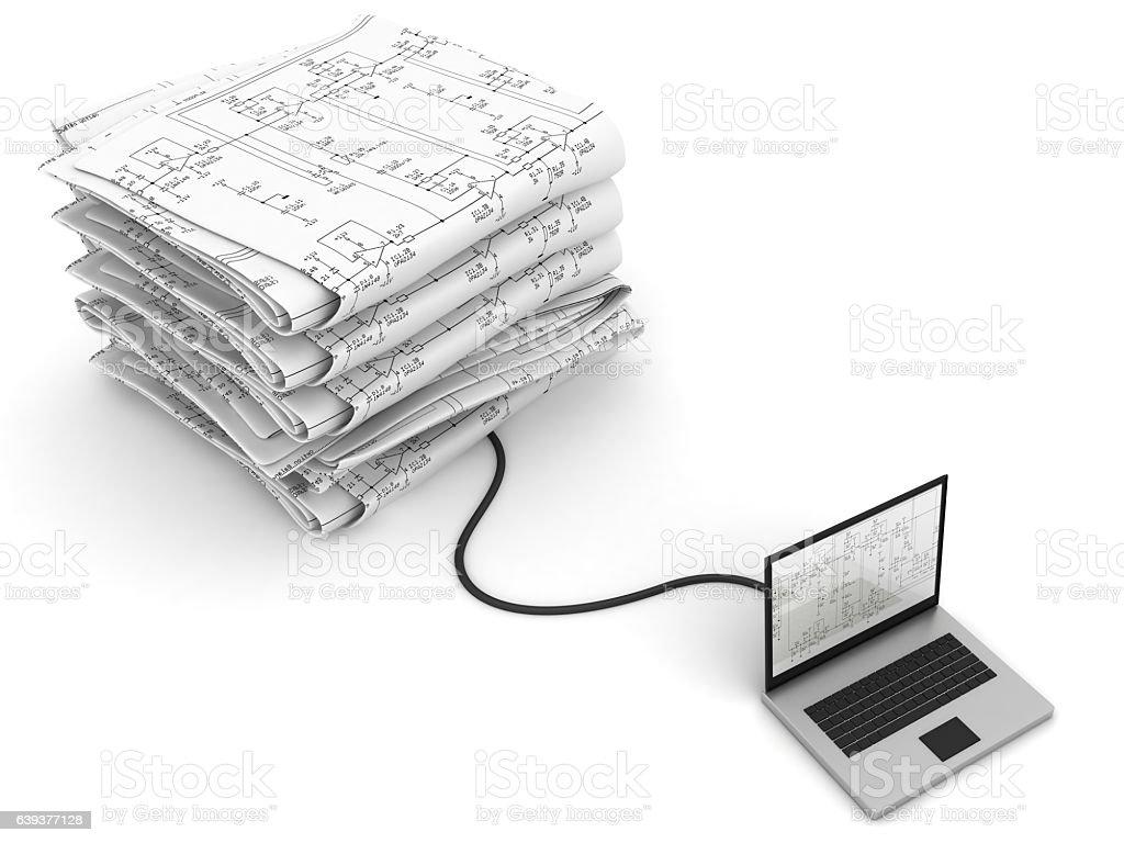Internet laptop computer blueprint technology stock vector art internet laptop computer blueprint technology royalty free internet laptop computer blueprint technology stock vector art malvernweather Images