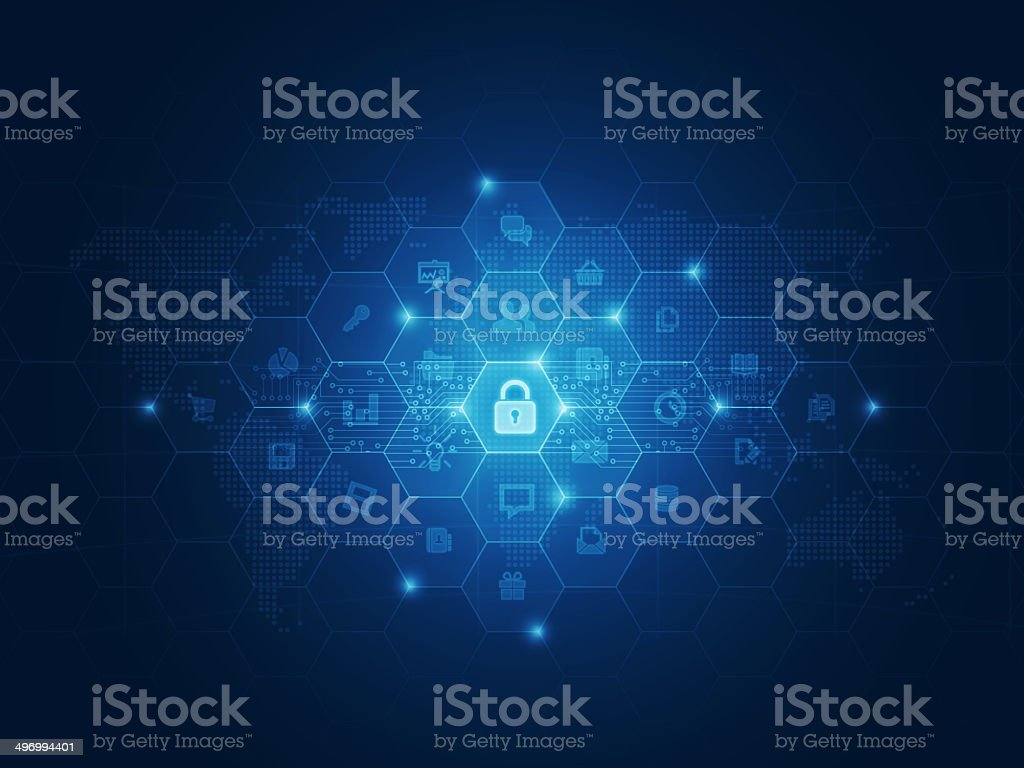 Internet security data concept background vector art illustration