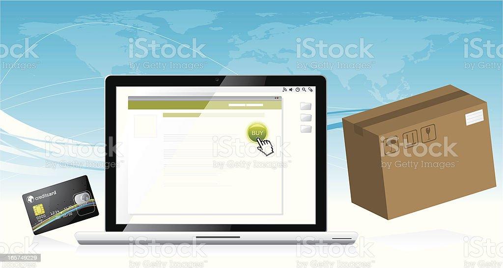 Internet shopping vector art illustration