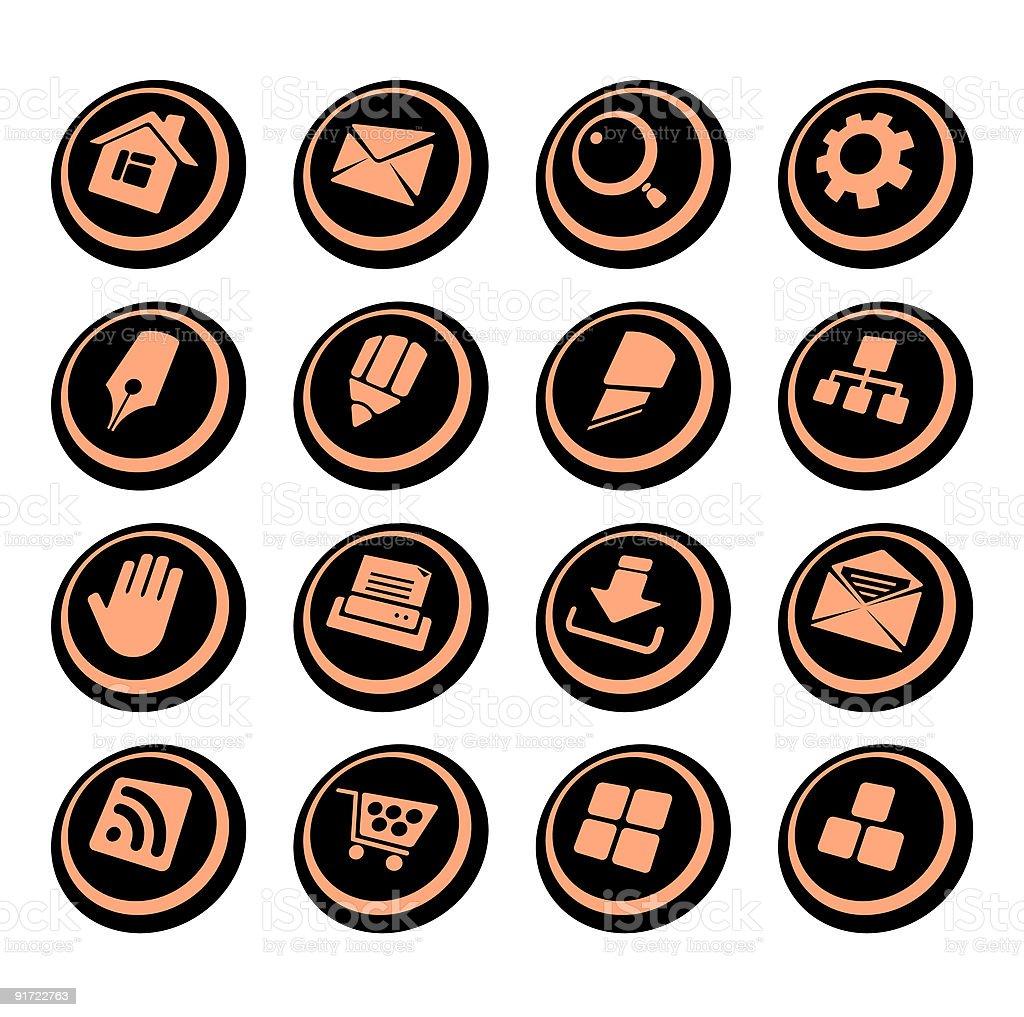 Internet website icons   Black ellipse series royalty-free stock vector art