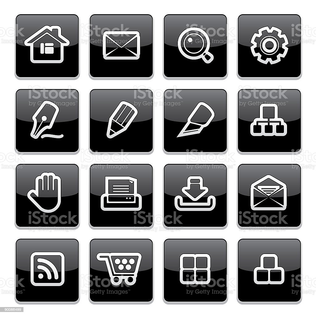 Internet website icons | Strict thick series royalty-free stock vector art