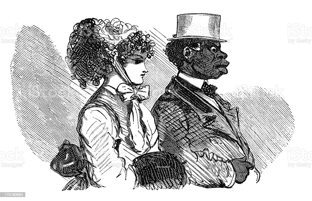 Interracial French couple vector art illustration