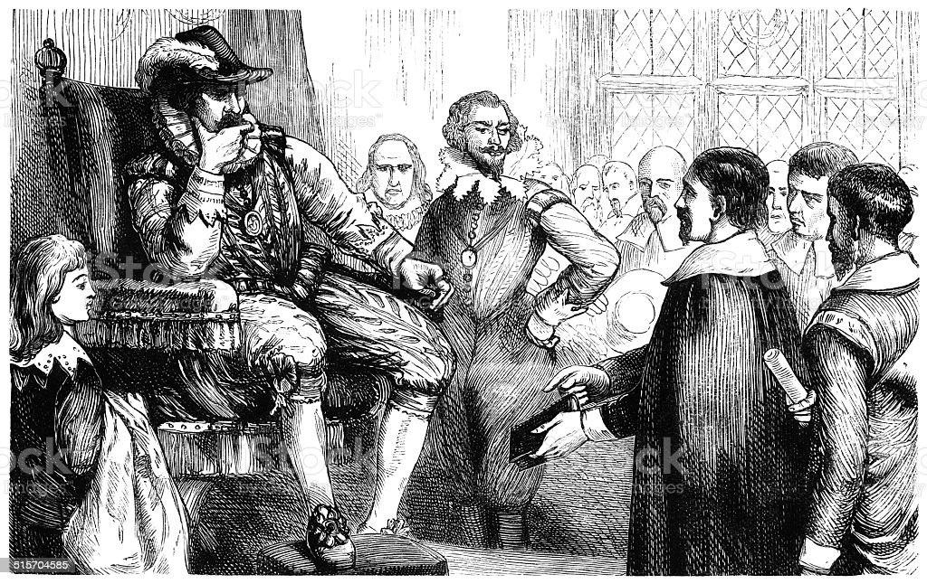 Interview of the Puritans with King James I vector art illustration