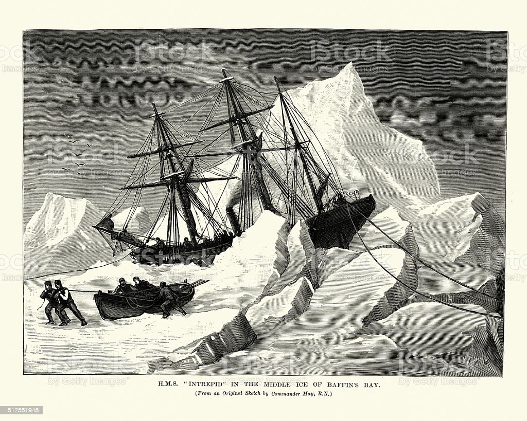 HMS Intrepid in the Middle Ice of Baffin's Bay vector art illustration