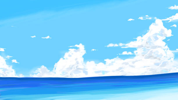 Introductory clouds and the sea vector art illustration