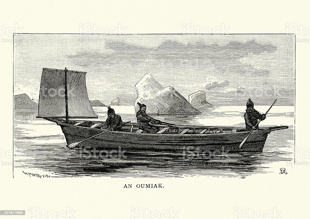 Inuit Umiak Or Oumiak 19th Century Royalty Free