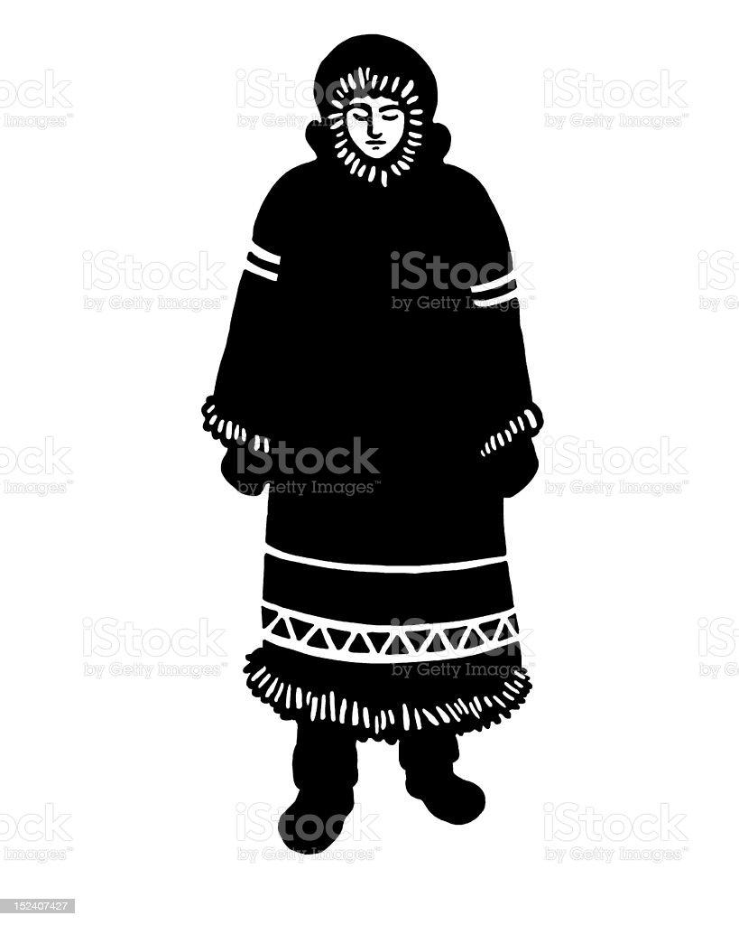 イヌイット族の女性のロングコート 1人のベクターアート素材や画像を