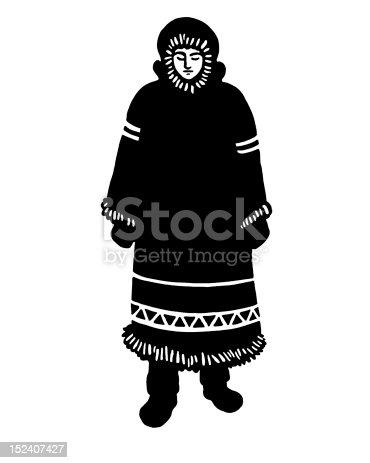 Inuit Woman In Long Coat
