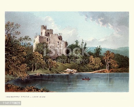 Vintage engraving of Invergarry Castle, Loch Oich, Scottish Highlands, Scotland, 19th Century. Invergarry Castle in the Scottish Highlands was the seat of the Chiefs of the Clan MacDonnell of Glengarry, a powerful branch of the Clan Donald. The castle's position overlooking Loch Oich on Creagan an Fhithich (Raven's Rock) in the Great Glen