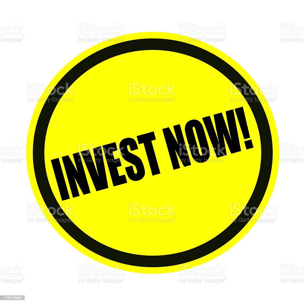 Invest now black stamp text on yellow vector art illustration