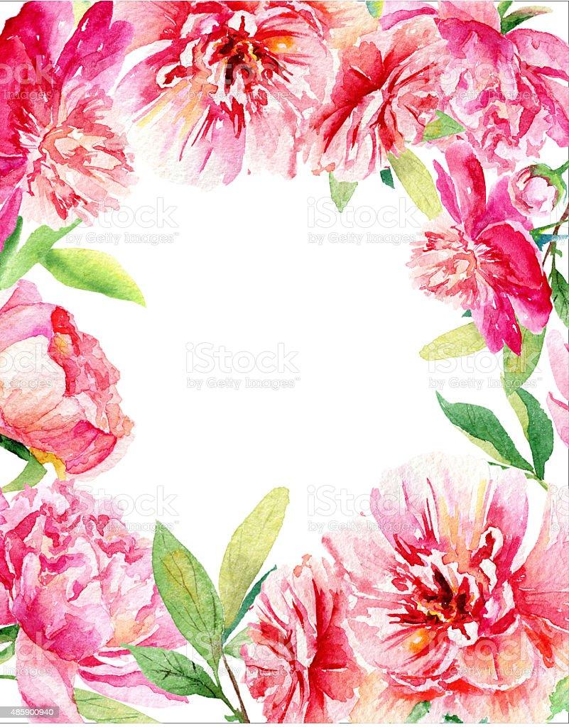 приглашение карты розовый и красный акварельные пионы стоковая