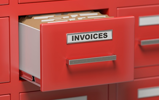 Invoices documents and files in cabinet in office. 3D rendered illustration.
