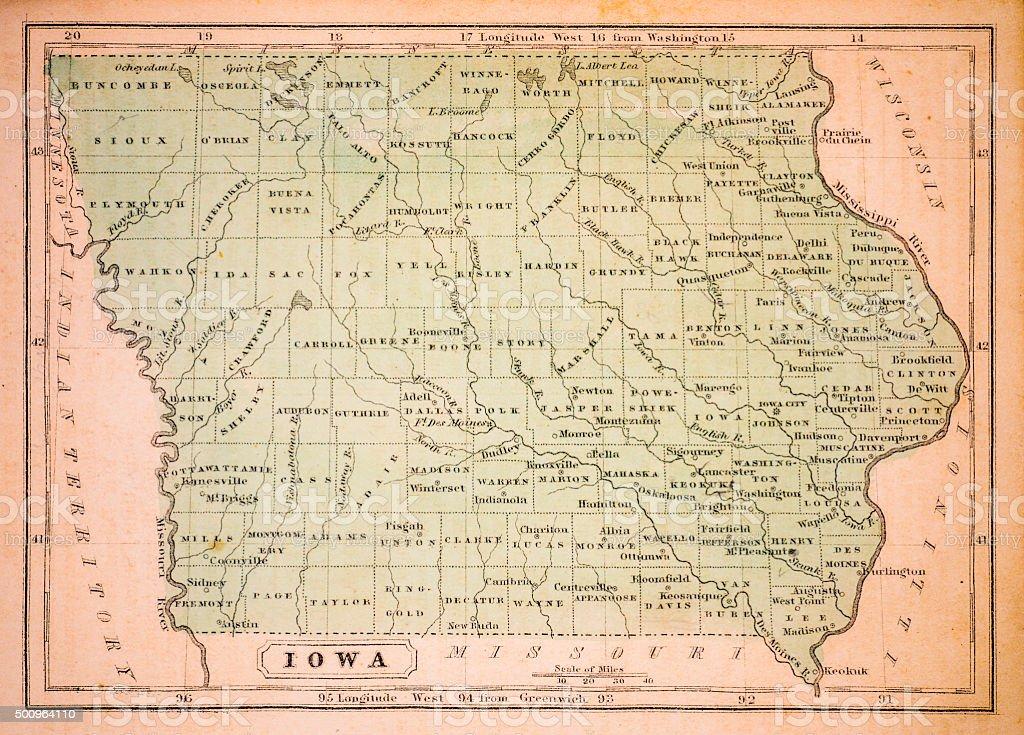Iowa 1852 Map vector art illustration