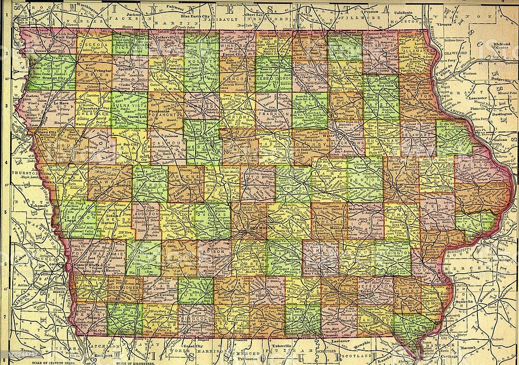 Iowa Old Map vector art illustration