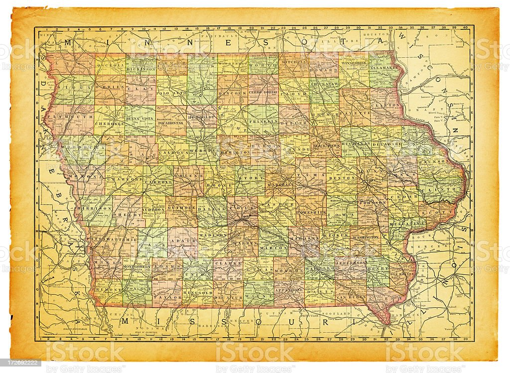 Iowa Old Map royalty-free stock vector art