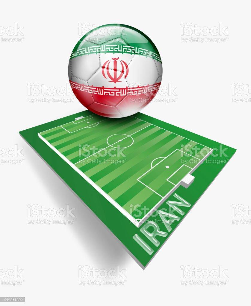 Botão de Irã com bandeira iraniana no campo de futebol verde com o nome da equipe - ilustração de arte em vetor