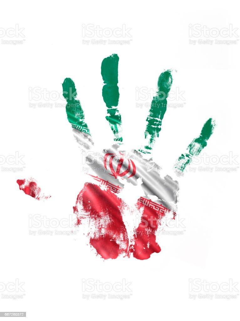 Irã mão impressão bandeira - ilustração de arte em vetor