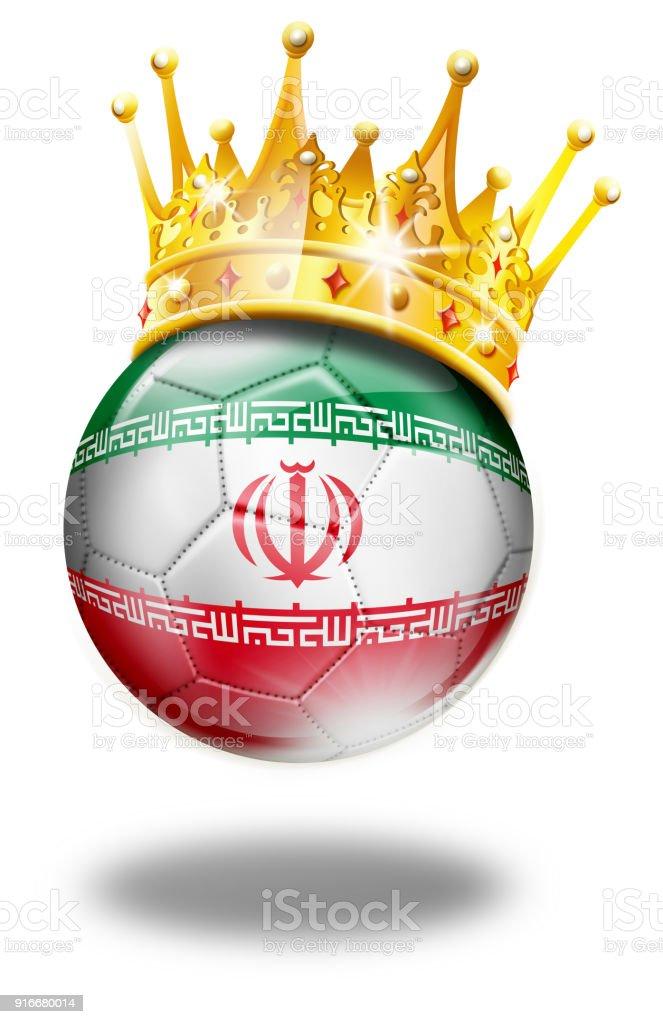 Bola de futebol do Irã com bandeira e coroa isolado no branco - ilustração de arte em vetor