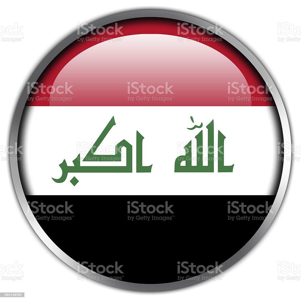 Iraq Flag glossy button vector art illustration