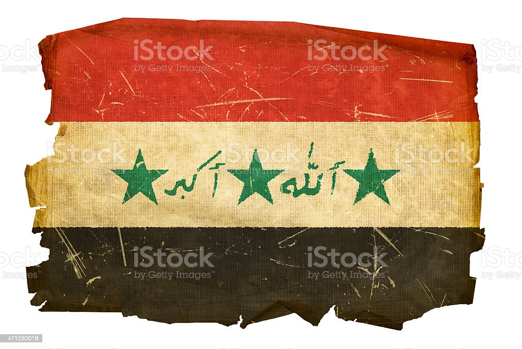 Iraq flag old, isolated on white background vector art illustration