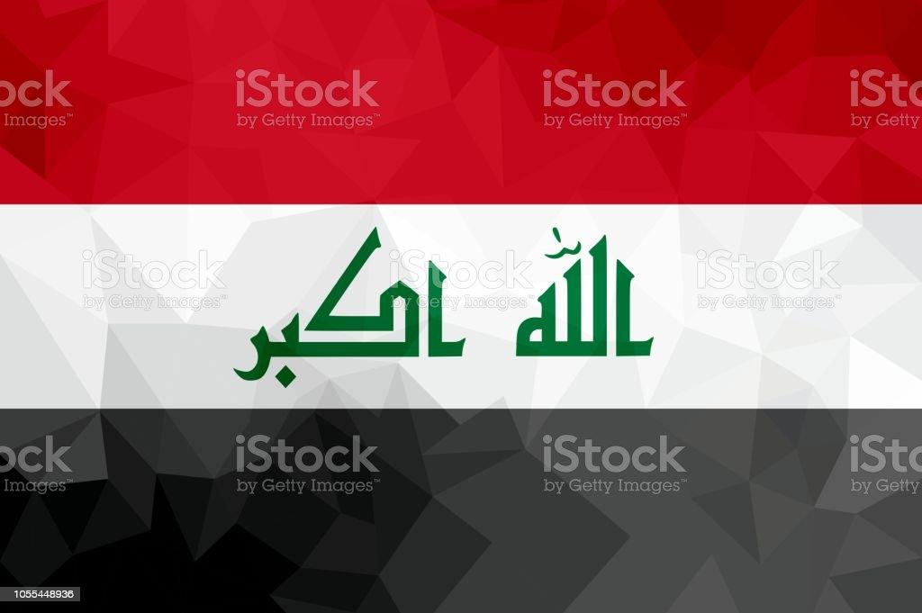 Iraq polygonal flag. Mosaic modern background. Geometric design vector art illustration