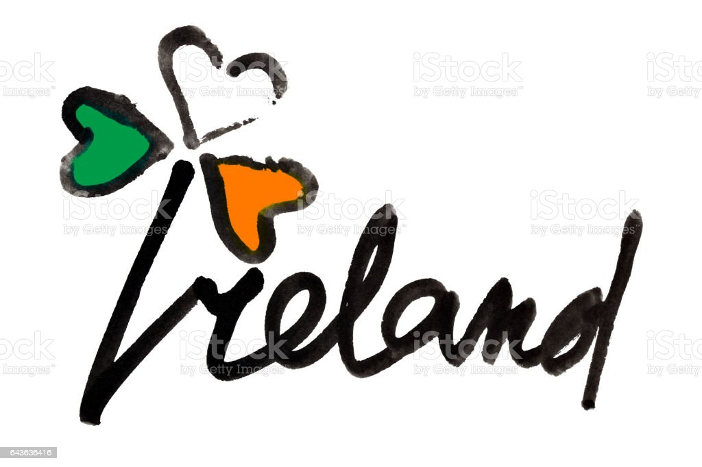 Ireland - clover and lettering vector art illustration