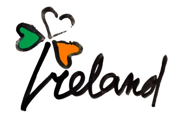 ilustraciones, imágenes clip art, dibujos animados e iconos de stock de irlanda - trébol y letras - bandera irlandesa