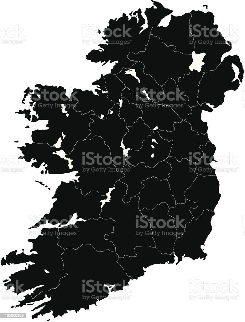 Ireland mono map vector art illustration