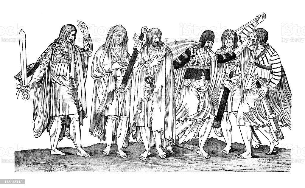 Irish Chieftains of the 16th Century royalty-free stock vector art