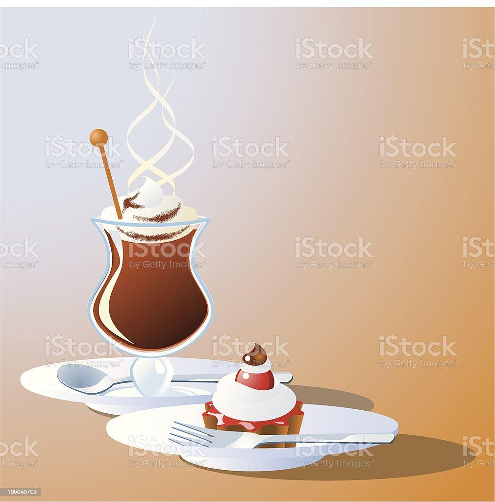 Irish coffee with tart royalty-free stock vector art