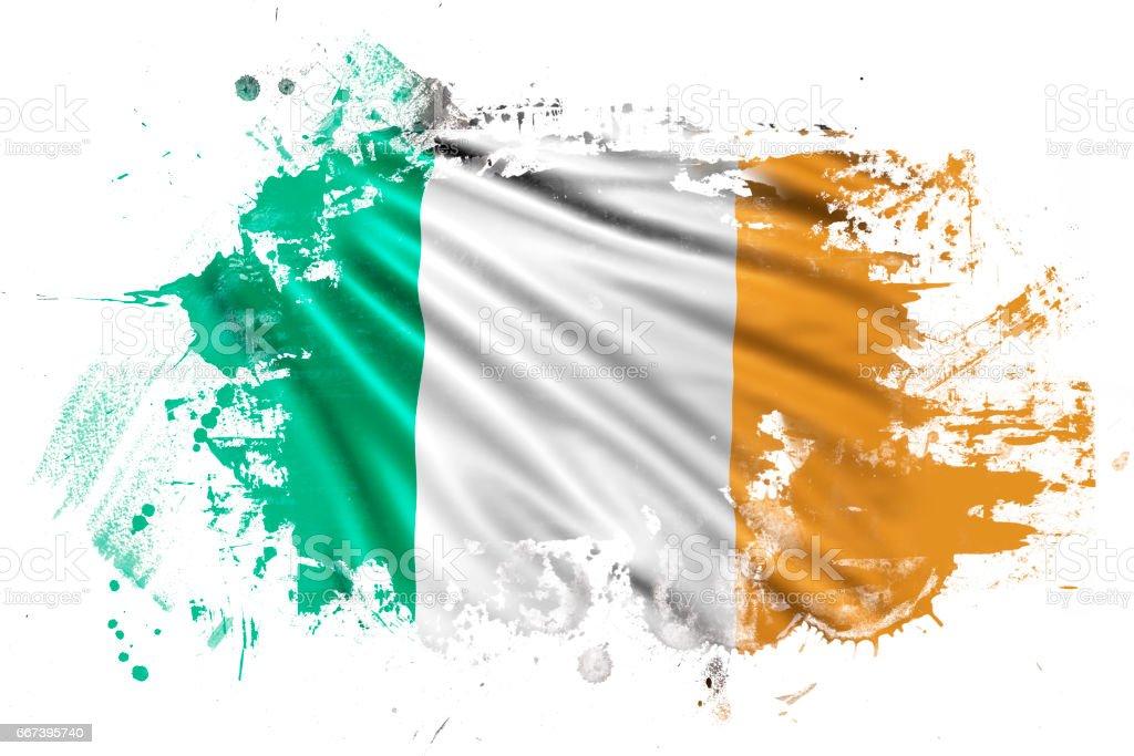 Irish Ink Grunge Flag - ilustración de arte vectorial